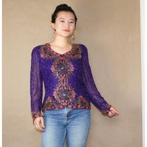 (103) vtg 80s beaded party purple blouse